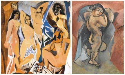 Izquierda: Las señoritas de Avignon (1907), de Picasso; derecha: Grand nu (1907-08), de Braque