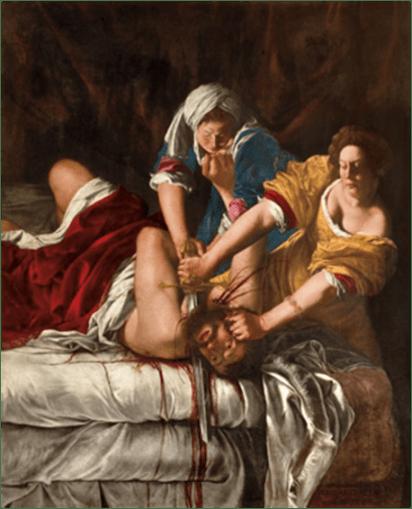Artemisia Gentileschi. Judit decapitando a Holofernes, c. 1620. Óleo sobre lienzo, 199 x 162,5 cm. Galleria degli Uffizi, Florence.