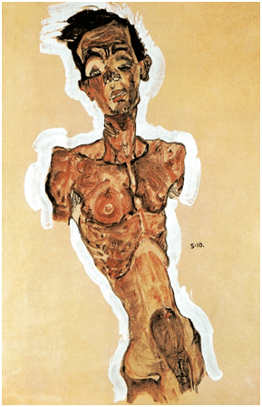 Egon Schiele, Self-Portrait, Nude, 1910. Gouache, watercolour, black crayon and white highlighting, 44.9 x 31.3 cm. Leopold Collection, Leopold Museum, Vienna.