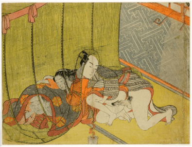 Shunga print showing lovers and cuckolded husband hiding under a mosquito net during a thunderstorm (indicated by the stylized pattern entering through the window). In the style of Suzuki Harunobu, c.1769-1770. Colour woodblock print, 18.7 x 24.8 cm. British Museum, London. © The Trustees of the British Museum