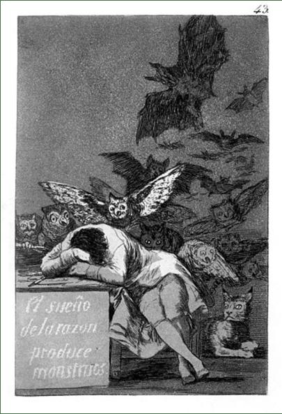 Francisco de Goya, Das Blatt 43, aus der Serie Caprichos.