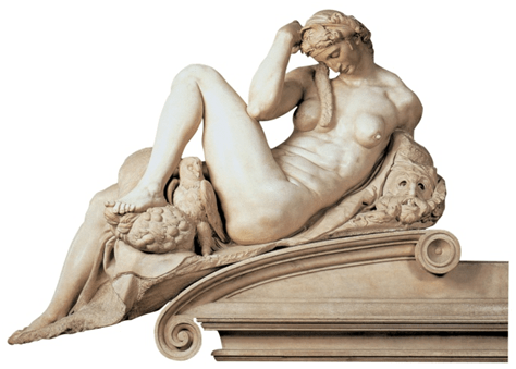 Michelangelo, Night, detail of the tomb of Julius de Medici, 1525-1527. Marble, length: 194 cm.  Medici Chapel, San Lorenzo, Florence.
