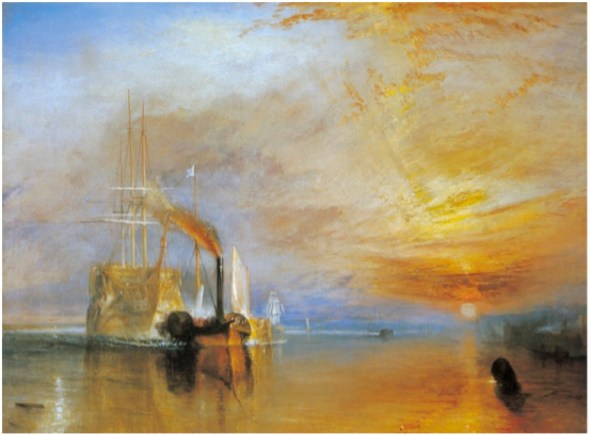 The Fighting Temeraire tugged to her last berth to be broken up, 1838, 1839. Oil on canvas, 90.7 x 121.6 cm. Turner Bequest, National Gallery, London.