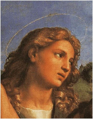 Rafael, San Juan Bautista, detalle de El éxtasis de Santa Cecilia, 1514. Óleo sobre lienzo, 220 cm × 136 cm. Pinacoteca Nazionale, Bologna.