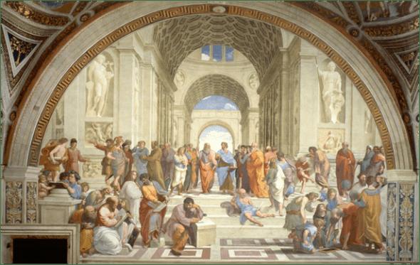 Rafael, La escuela de Atenas, 1508-1511. Fresco, ancho: 770 cm. Stanza della Segnatura, Palazzi Pontifici, Ciudad del Vaticano.