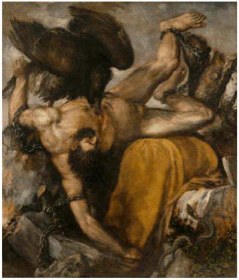 Tizian, Tityos, 1548-1549. Öl auf Leinwand, 253 x 217 cm. Museo del Prado, Madrid.