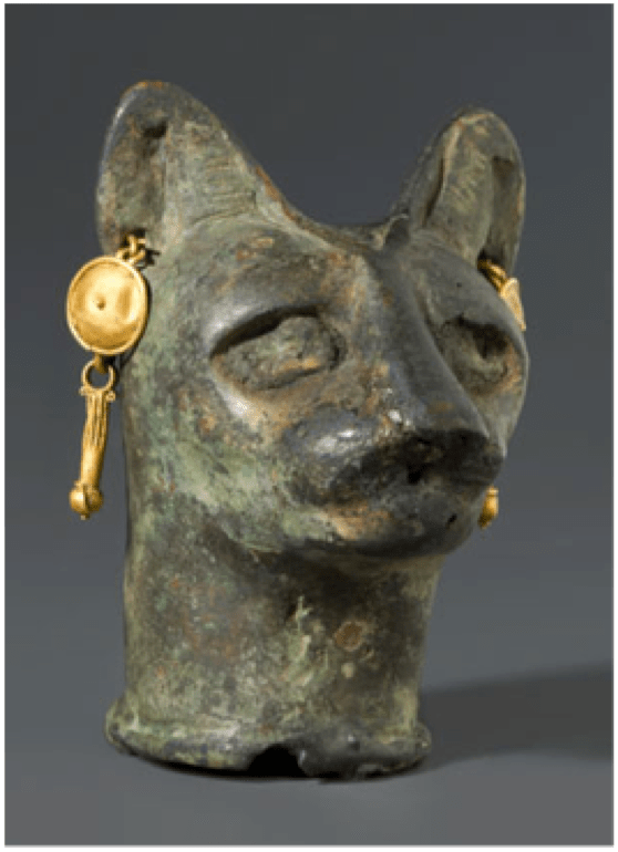 Cat's Head, 30 BCE – third century CE. Bronze, gold, 6 x 4.4 x 4.6 cm. Brooklyn Museum, New York.