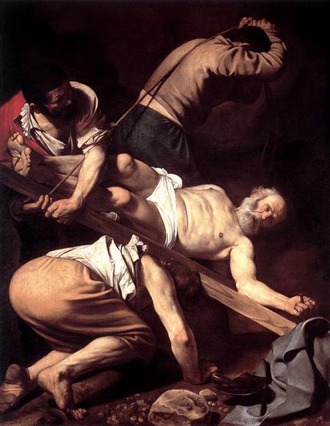 Caravaggio, La crucifixión de san Pedro, 1600.