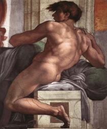 Michelangelo Buonarroti, Figure d'ignudo (détail), 1511. Peinture à fresque. Chapelle Sixtine (1505-1512), Rome.