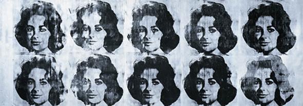 Andy Wharol Ten Lizes, 1963. Encre sérigraphique et peinture à la bombe sur toile, 201 x 564,5 cm. Inscriptions : S.D.H.G. sur la tranche : Andy Warhol 1963 Achat, 1986. Numéro d'inventaire : AM 1986-82.