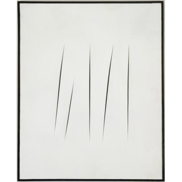Lucio Fontana, Concetto spaziale (Attese), 1965. © Musée d'Art moderne / Roger-Viollet © Lucio Fontana / SIAE / ADAGP, Paris 2014