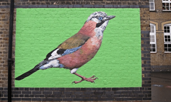 ATM, Painting of a jay on a wall in London. Image: www.theguardian.com