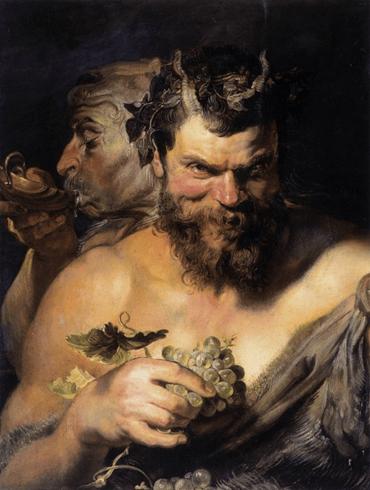 Pedro Pablo Rubens, Dos sátiros, 1618. Óleo sobre lienzo, 76 x 66 cm. Alte Pinakothek, Múnich.