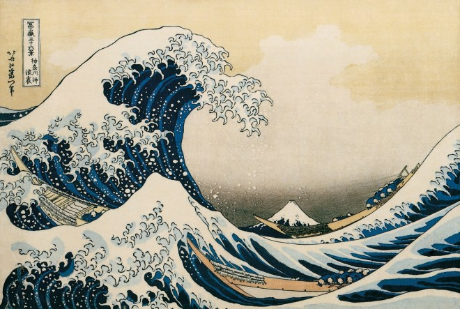 Katsushika Hokusai, Under a Great Wave off the Coast at Kanagawa (Kanagawa oki namiura), from the series Thirty Six Views of Mount Fuji (Fugaku Sanjurokkei), 1830-1832.