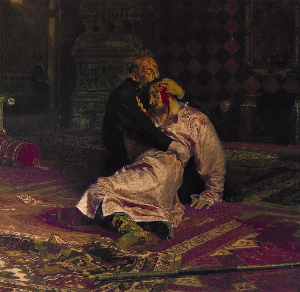 Ilja Repin, Zar Iwan der Schreckliche mit seinem Sohn Iwan am 16. November 1581, 1885. Öl auf Leinwand, 199,5 x 254 cm. Tretjakow-Galerie, Moskau.