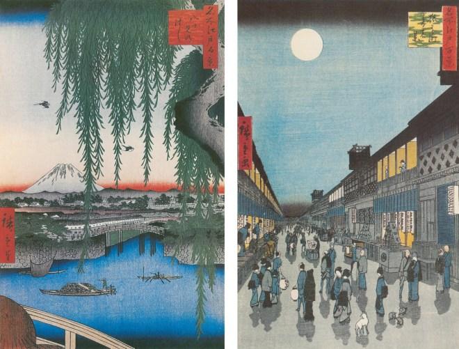 Hiroshige, Le pont Yatsumi no hashi, de la série « Cents vues d'Edo », août 1856, estampe. 36 x 23,3 cm.  Hiroshige, Vue nocturne du quartier de Sarukawa-machi, de la série « Cents vues d'Edo », septembre 1856, estampe. 36,2 x 23,5 cm.