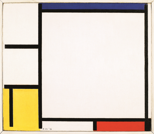 Composition avec bleu, jaune, rouge et noir, 1922. Huile sur toile, 41,9 x 48,9 cm. Minneapolis Institute of Arts, Minneapolis.