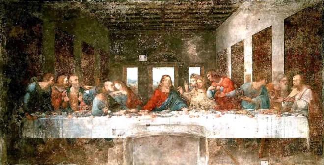 Leonardo da Vinci, The Last Supper, 1495-1498. Tempera on gesso, pitch and mastic, 460 x 880 cm. Convent of Santa Maria delle Grazie, Milan