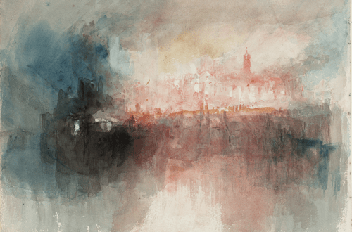 J.M.W. Turner, Fire at the Grand Storehouse of the Tower of London, (L'incendie du Grand Entrepôt de la Tour de Londres), 1841. Aquarelle sur papier, 23,5 x 32,5 cm. Tate Gallery, Londres.