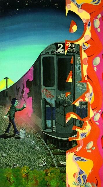 DAZE, Transition, 1982. Acrylique peint sur toile, 68,5 x 122 cm. American Graffiti Museum, New York.