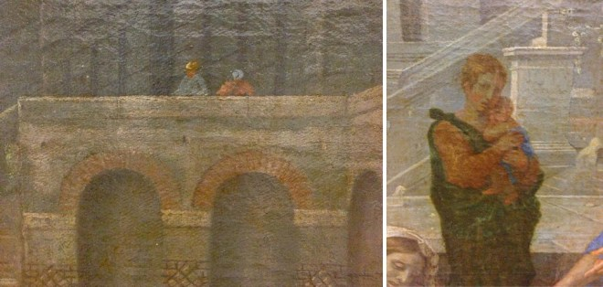 Nicolas Poussin, Le Christ et la femme adultère, 1653. Huile sur toile, 121 x 195 cm. Musée du Louvre, Paris. (Détails)