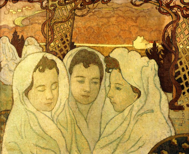 Maurice Denis, Triple Portrait de Marthe fiancée, 1892. Huile sur toile. Dépôt du musée municipal de Saint-Germain-en-Laye, Musée départemental Maurice Denis, Saint-Germain-en-Laye.