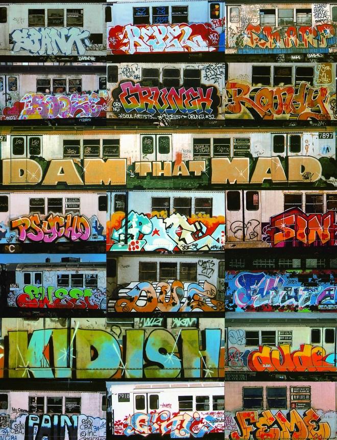 Différents artistes. Aérosol peint sur wagons de métro. New York.