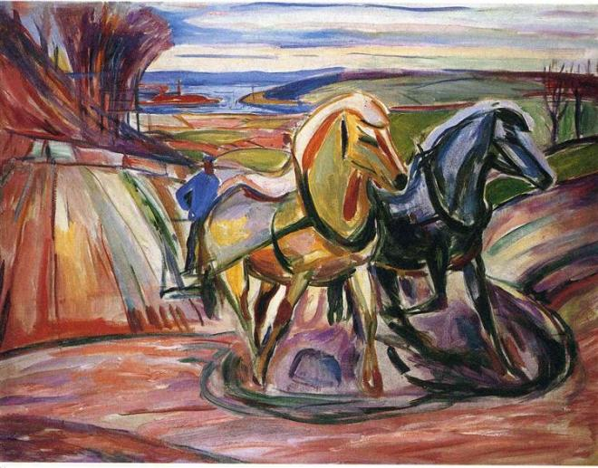 Edvard Munch, Spring Ploughing, 1916. Oil on canvas, 84 x 109 cm. Munch Museet, Oslo.