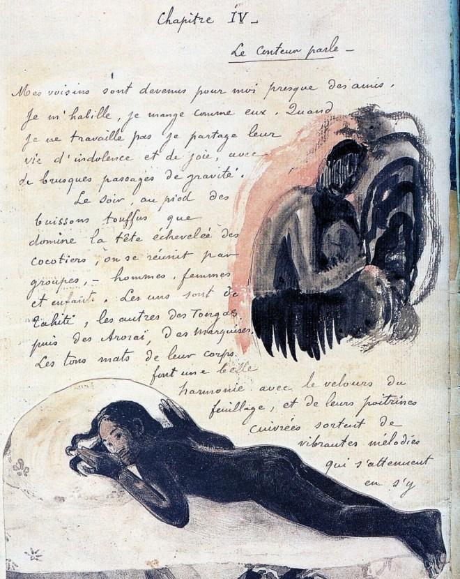 Paul Gauguin, Texte manuscrit illustré avec une femme assise : Folio 38, 1893-1894. Extrait du manuscrit NOANOA / Voyage de/Tahiti. Plume et encre brune, aquarelle et gravure, 31,5 x 23,2 cm. Musée du Louvre, Paris.