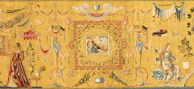 Anonyme d'après Bernard Salomon, Élément d'une tenture de lit (détail), vers 1560. Soie brodée, 49,5 × 208,9 × 3,8 cm. The Metropolitan Museum of Art, New York.