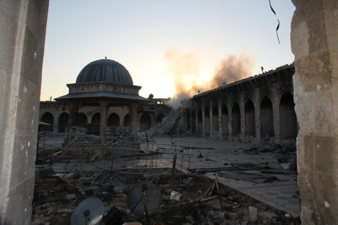 Die Überreste der Großen Moschee von Aleppo. Aleppo, April 2013.