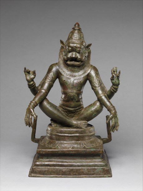 Just slaughtered an evil king? It's time for some yoga: Yoga Narasimha, Vishnu's Man-Lion Incarnation, 12th century. Copper alloy, 47.6 x 33 x 24.1 cm. The Metropolitan Museum of Art, New York.