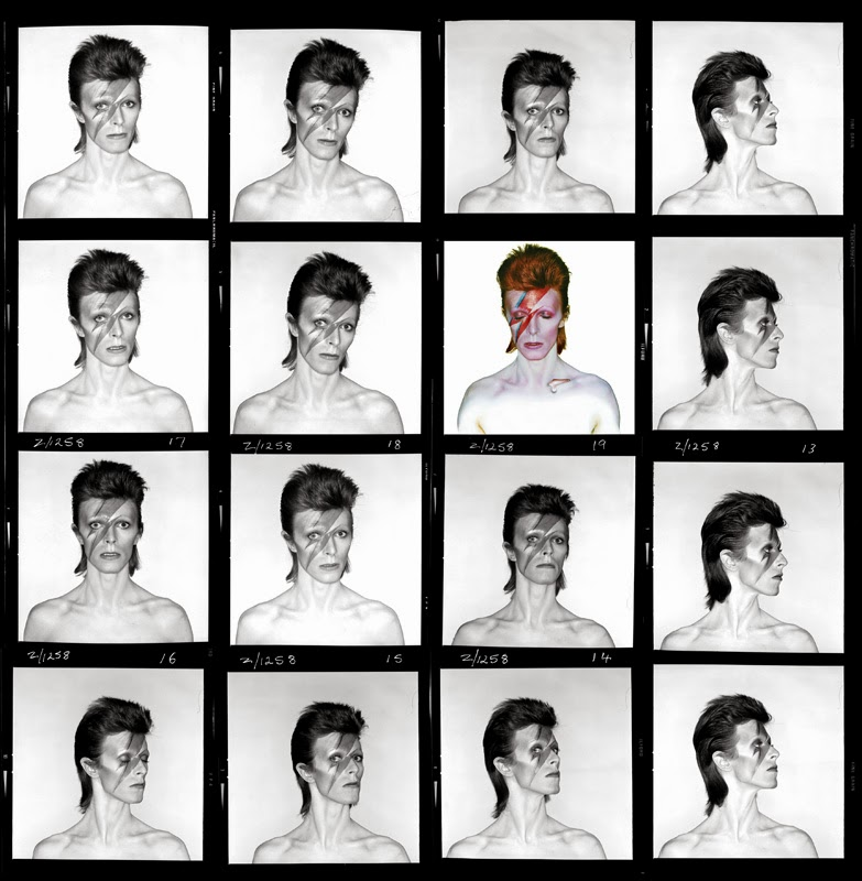 "Brian Duffy, planche contact pour la couverture de l'album ""Aladdin Sane"", 1973. Photo Duffy © Duffy Archive & The David Bowie Archive."