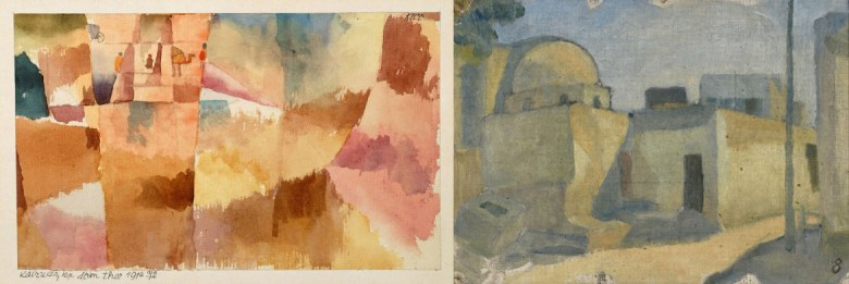 Left: Paul Klee, Kairuan, Before the gate, 1914. Watercolour and pencil on paper, mounted on cardboard, 13.5 x 22 cm. Moderna Museet, Stockholm. Right: Ivan Aguéli, Egyptian Domed House, 1914.   Tempera on canvas, 21.5 x 30.5 cm. Moderna Museet, Stockholm.