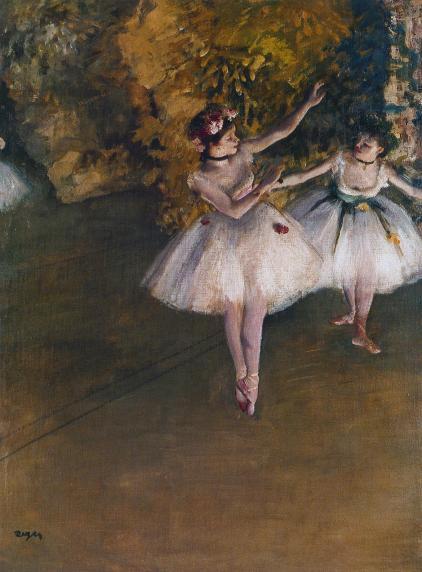 Edgar Degas, Zwei Tänzerinnen auf einer Bühne, 1874. Öl auf Leinwand, 46 x 61,5 cm. The Courtauld Gallery, London.