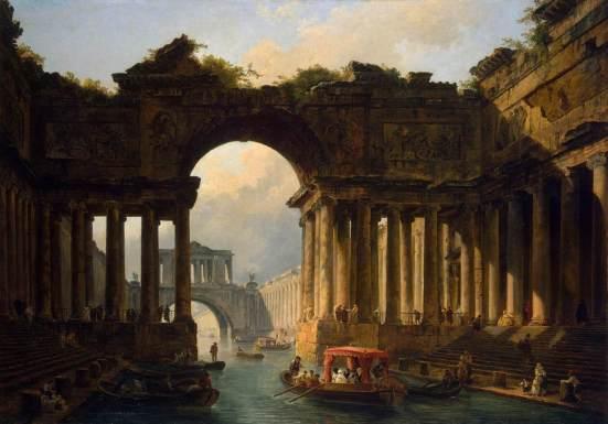 Caprice architectural avec un canal, 1783. Huile sur toile, 129x182,5 cm. Musée de l'Ermitage, Saint-Pétersbourg.