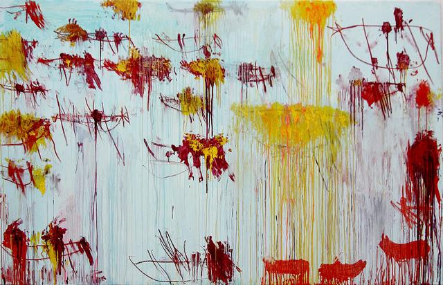Cy Twombly, Lepanto, Tafel 10, 2001. Acryl, Wachsstift und Grafit auf Leinwand, 216,2 x 335,9 cm. Museum Brandhorst, Bayerische Staatsgemäldesammlungen, München.