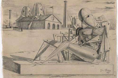 Giorgio de Chirico, Solitudine, 1917. Bleistift auf Papier, 22,4 x 32 cm. The Museum of Modern Art, New York.