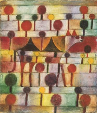 骆驼在艺术林木景观,1920年 油纱布粉笔画,48 x 42厘米. 北威州杜塞尔多夫艺术博物馆