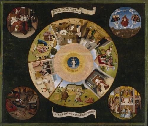 Mesa de los Pecados Capitales (1505 - 1510). Óleo sobre tabla de madera de chopo, 119,5 x 139,5 cm. Museo del Prado, Madrid.