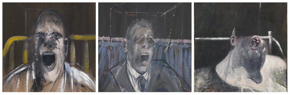 Study for the Head of a Screaming Pope (1952), Oil on canvas, 9.5 x 39.4. Yale Center for British Art, New Haven (Connecticut) Study for a Portrait, 1952. Oil on canvas, 26 x 22 cm. Tate Britain, London Head I, 1947-1958. Oil and tempera on board, 100.3 x 74.9 cm. The Metropolitan Museum of Art, New York City