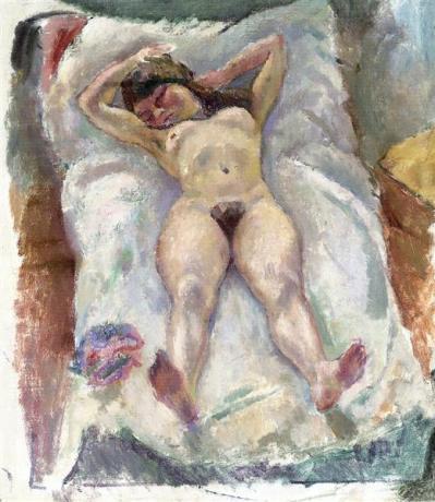 Jules Pascin, Femme allongée avec les bras levés, 1907.