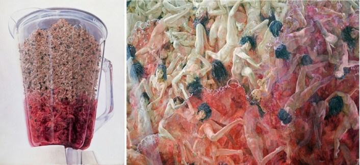 Makoto Aida, Blender, 2001. Acrylic on canvas, 114 x 82.9 in. Courtesy Mizuma Art Gallery. Takahashi Collection