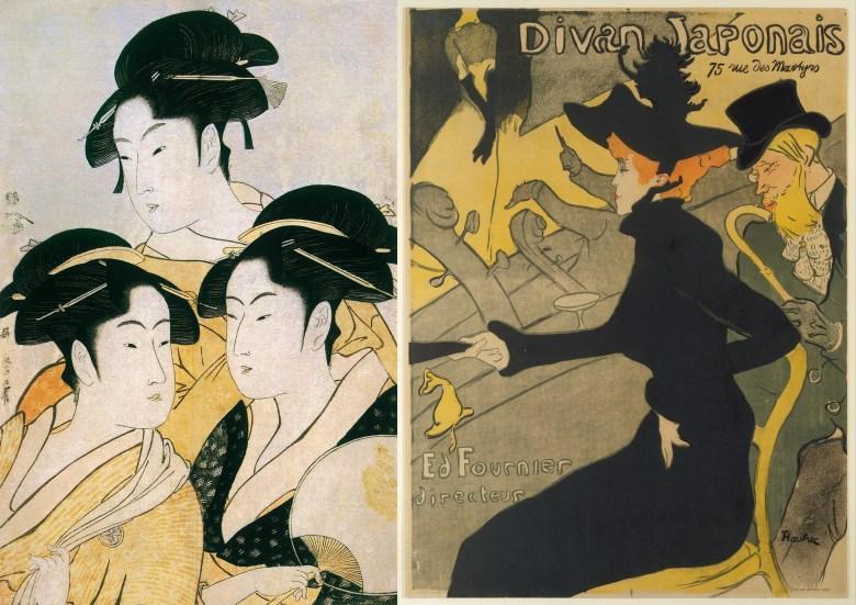 Links: Kitagawa Utamaro, Drei zeitgenössische Schönheiten, um 1793. Nishiki-e (Farbholzschnitt), Tinte und Farbpigment auf Papier, 37 x 25 cm. Museum of Fine Arts, Boston. Rechts: Henri de Toulouse-Lautrec, Divan Japonais, 1892-1893. Vierfarbige Lithografie, 80,8 x 60,8 cm. The Metropolitan Museum of Art, New York.
