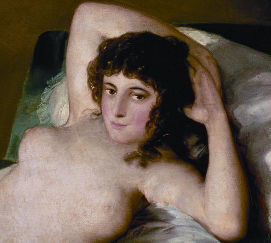 Francisco de Goya, Die nackte Maja (Detail), vor 1800. Öl auf Leinwand, 98 x 191 cm. Museo Nacional del Prado, Madrid.