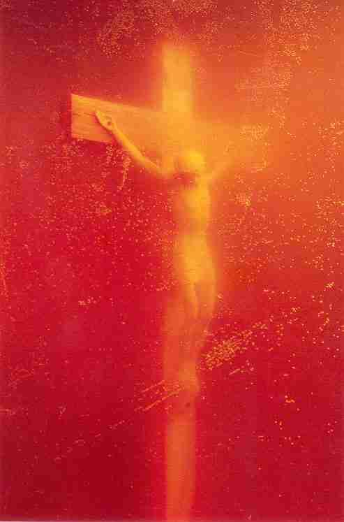 Andres Serrano. Piss Christ. 1987. Photograph of crucifix submerged in artist's urine. 114.9 by 83.2 cm.