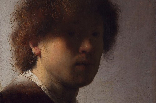 Rembrandt Harmenszoon van Rijn, Selbstporträt, um 1628. Öl auf Tafel, 22,6 x 18,7 cm. Rijksmuseum, Amsterdam.