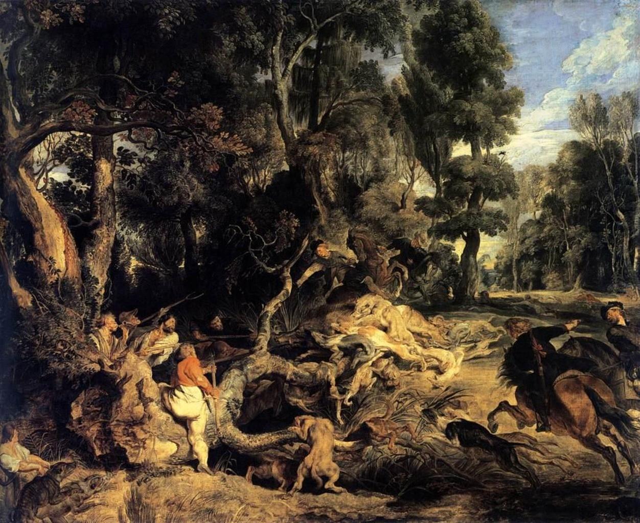 Peter Paul Rubens, Eine Wildschweinjagd, um 1615-1616. Öl auf Eichenholz, 137 x 168,5 cm. Gemäldegalerie Alte Meister, Staatliche Kunstsammlungen Dresden, Dresden.