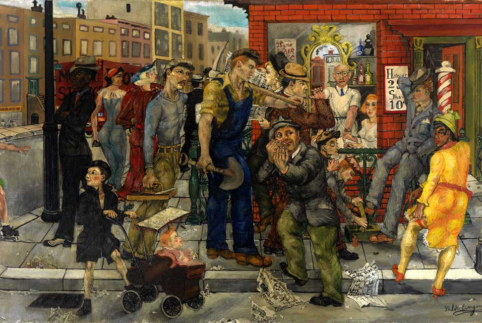 Philip Evergood, Street Corner, 1936. Huile sur toile montée sur bois, 140 x 76 cm, Virginia Museum of Fine Arts, Virginie.