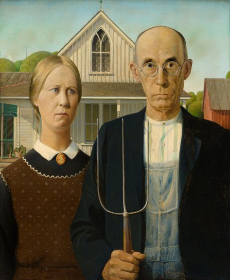 Grant Wood, American Gothic, 1930. Huile sur panneau, 78 × 65,3 cm. The Art Institute of Chicago, Chicago.